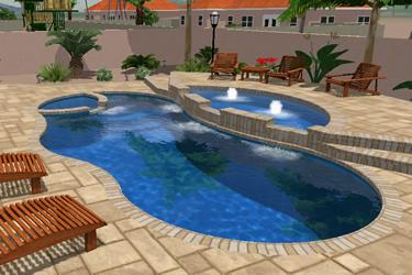 Fiberglass tanning ledges fiberglass pools and spas for Pool design with tanning ledge
