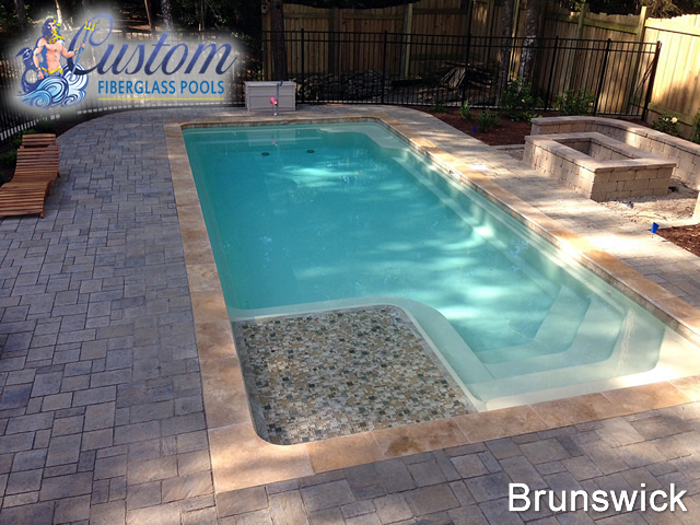Rectangle Pool With Spa brunswick - rectangle - fiberglass pools and spas