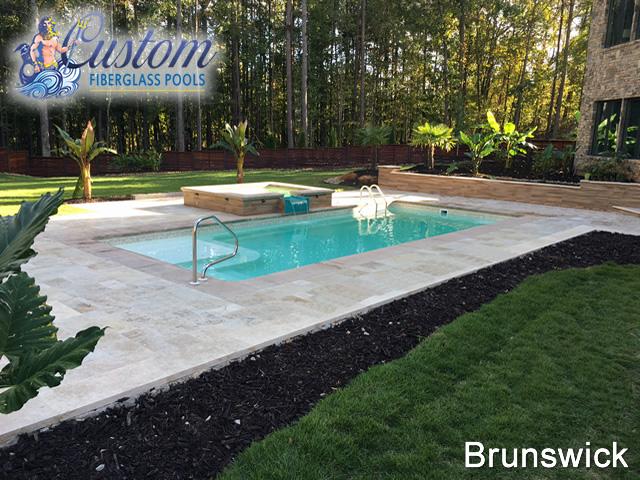 Brunswick rectangle fiberglass pools and spas for Brunswick pool