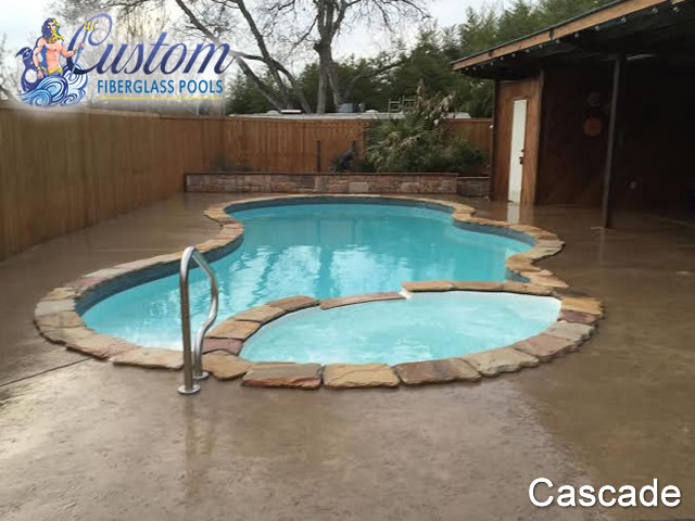 Cascade pools with spa fiberglass pools and spas for 10x20 pool design