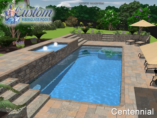 Centennial rectangle fiberglass pools and spas for A rectangular swimming pool is 6 ft deep